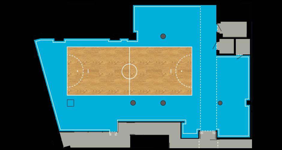Détail d'un terrain. <br/>Chaque bureau ou « terrain » est identifié par son marquage au sol inspiré par un sport de salle.  <br/><br/><br/><br/>