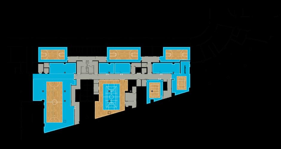 Plan du rez de chaussée. <br/>En bleu les zones « Terrain » réservées aux bureaux, en gris les zones de circulation.<br/> L'espace d'accueil est sur une surface type parquet et reprend le marquage au sol de tous les terrains. <br/><br/><br/><br/>