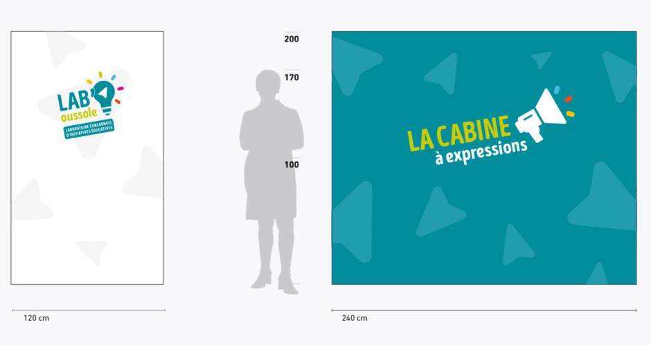 '.Déclinaison de l'identité visuelle sur une cabine accueillant du public..'